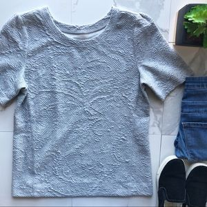 Ann Taylor LOFT Grey Short Sleeve Textured Top